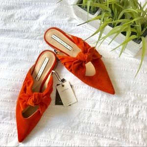 NWT Zara suede orange flats gorgeous!!